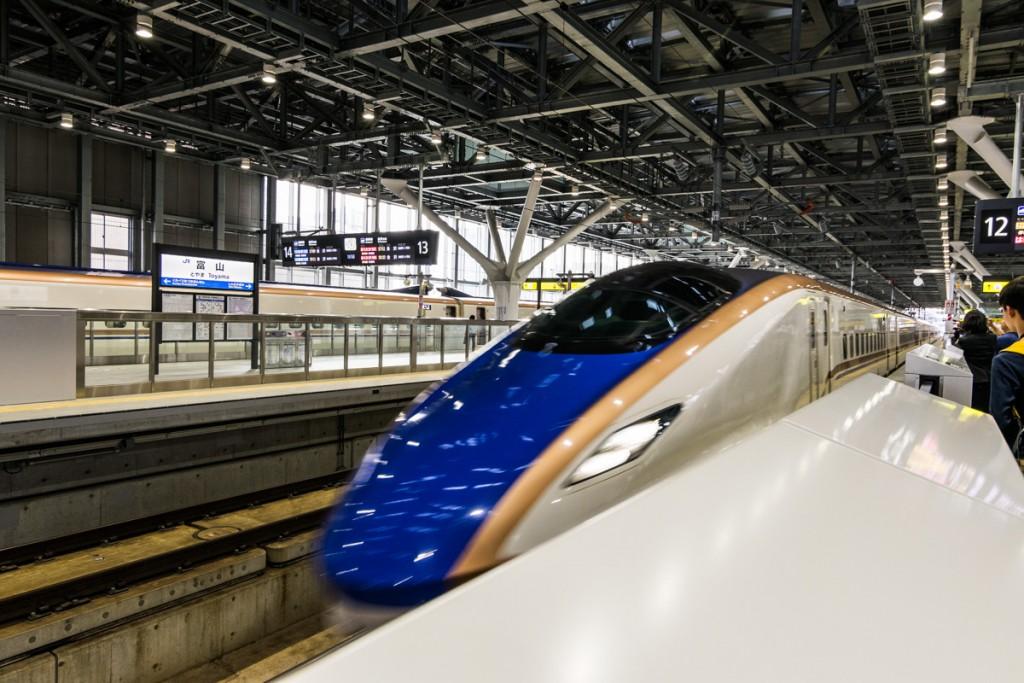Shinkansen train at Toyama Station