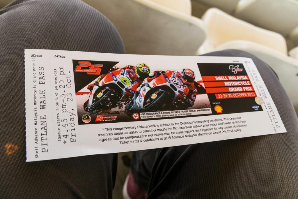 Free Pitlane Walk pass, Malaysian MotoGP