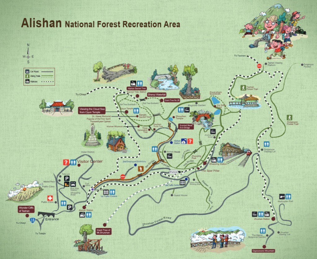 Map of Alishan National Forest Recreation Area