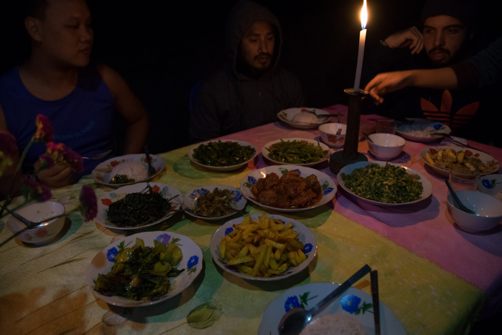 Dinner at a village on hike from Kalaw to Inle Lake