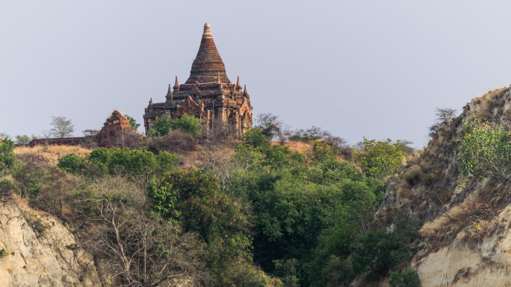 First views of Bagan from boat from Mandalay