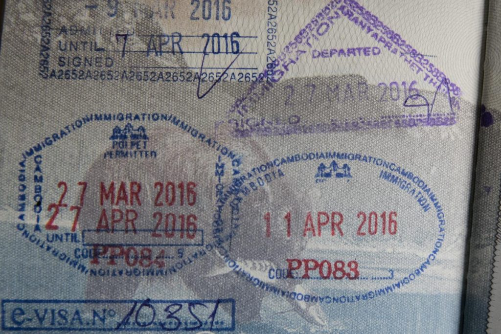 Thai exit and Cambodian entry stamps
