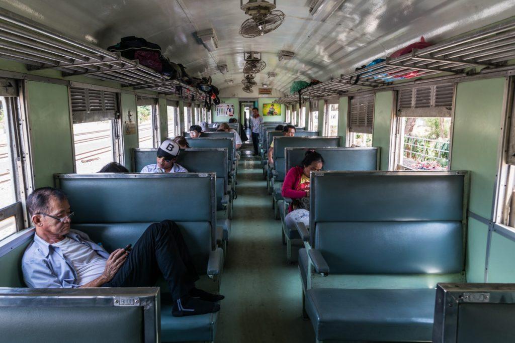 Train from Aranyaprathet to Bangkok, Thailand