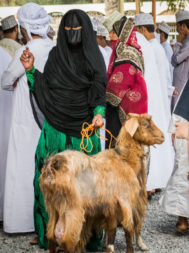 Bedouin woman at the Goat Market in Nizwa, Oman