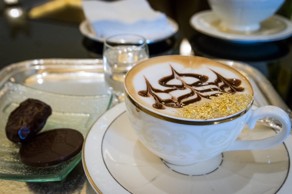 Cappuccino with gold flakes at the Emirates Palace, Abu Dhabi