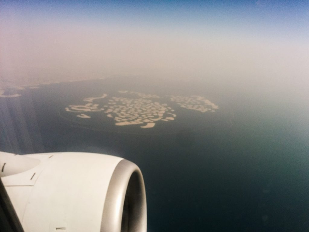 "Flying over ""The World"", Dubai"