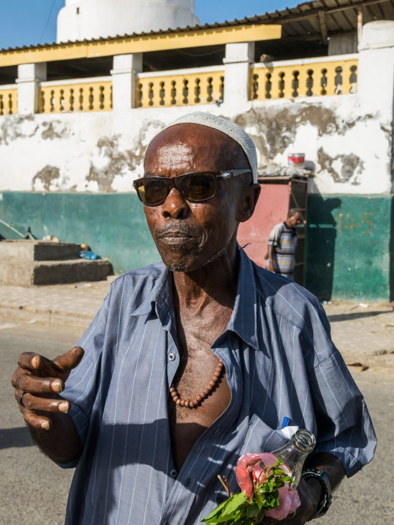 Man chewing khat, Djibouti City