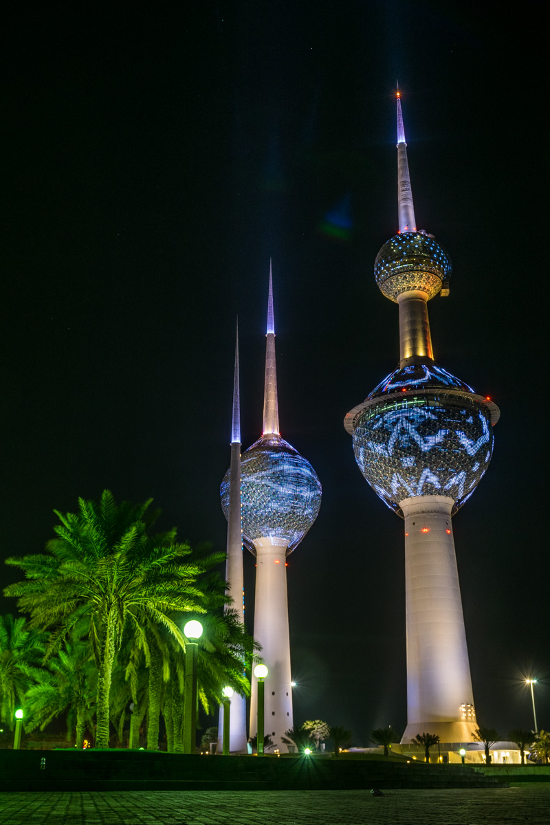 Kuwait Towers at night