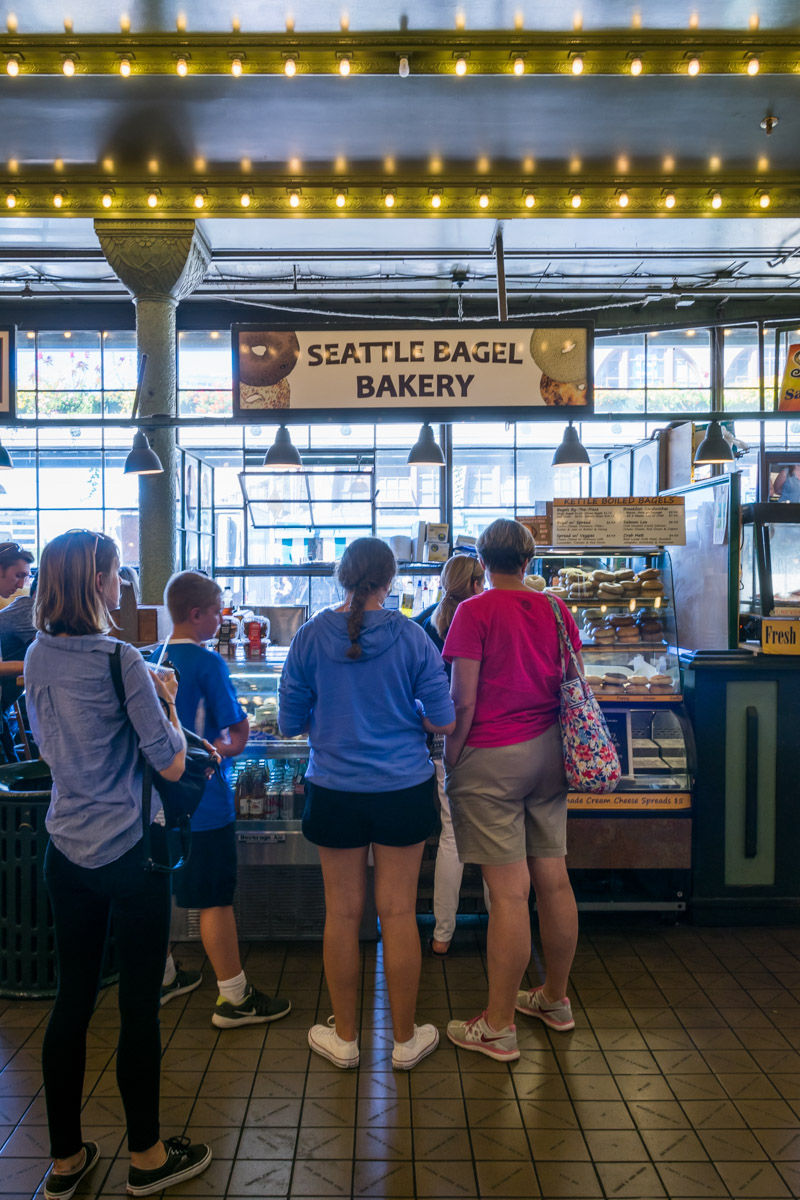Standing in line for bagels at Pike Place Market